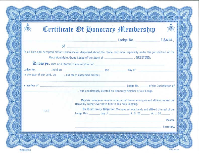 Honorary Membership Certificate/Card/Envelope – The Grand Lodge of ...