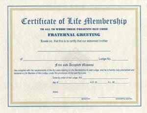 Life membership certificatecardenvelope the grand lodge of life membership m4hsunfo